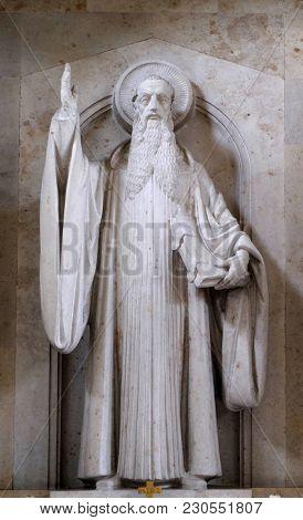 MUNSTERSCHWARZACH, GERMANY - JULY 09: Saint Benedict, altar in Munsterschwarzach Abbey, Benedictine monastery, Germany on July 09, 2017.