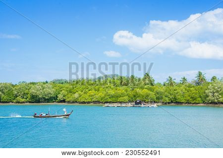 Natural Sea And Boat Long Tail In Andaman Beach Thaland