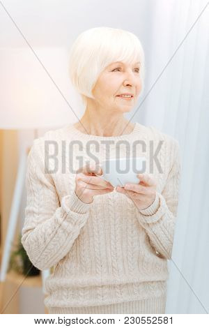 Calm Glance. Calm Pleasant Aged Woman Looking Thoughtful While Standing Next To The Big Window In He
