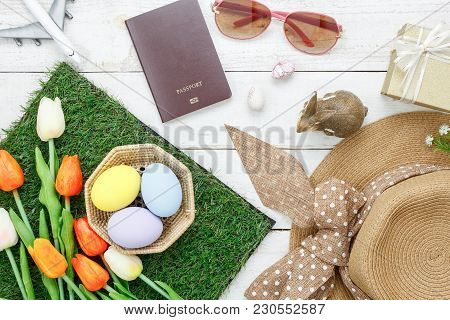 Table Top View Shot Of Decoration Happy Easter Holiday Background & Accessories Woman Clothing To Tr