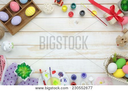 Table Top View Shot Of Decoration Happy Easter Holiday Background Concept.flat Lay Prepare Object To