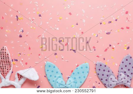 Top View Aerial Image Shot Of Arrangement Decoration Happy Easter Holiday & Fashion Background Conce