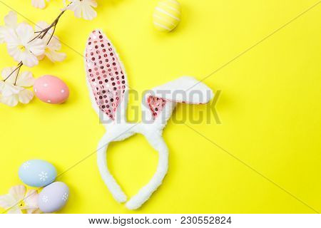 Top View Shot Of Arrangement Decorations Happy Easter Holiday Background Concept.flat Lay White Bunn
