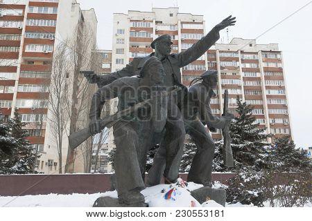 Evpatoria, Crimea, Russia - February 28, 2018: Monument To The Evpatoria Sailors-paratroopers On The