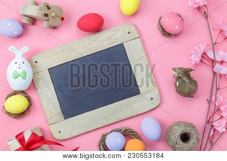 Table Top View Shot Of Decoration Happy Easter Holiday Background Concept.flat Lay Bunny Egg With Fl