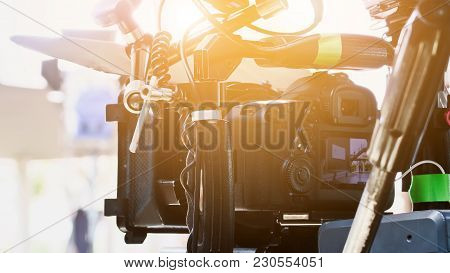 Cinema Camera on Film Set, Behind the scenes background, film crew production