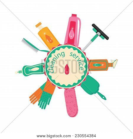 Set Of Multicolored For Cleaning Detergent In A Bottle Of Gloves Scoop Brushes Of A Sponge Cleaner L