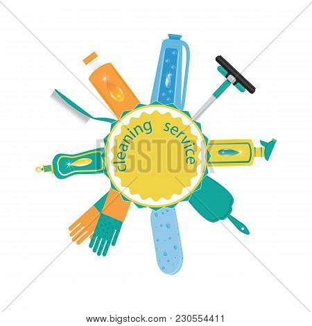 Set For Cleaning Detergent In Bottle Gloves Scoop Brush Sponge Wiper Label Cleaning Service Isolated