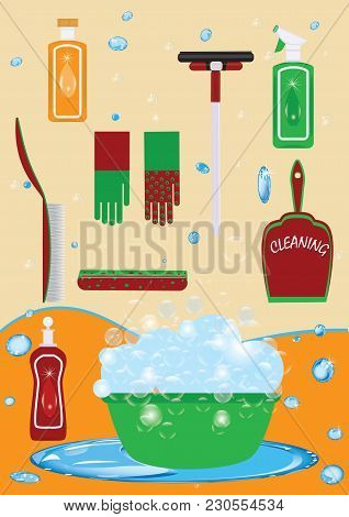 Set Of Multicolored For Cleaning Detergent In A Bottle Of Gloves Scoop With A Brush Of A Sponge Of W