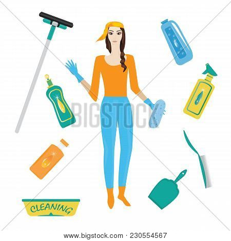 Set For Cleaning Woman In Rubber Gloves Detergent In Bottle Scoop Brush Sponge Wiper Isolated White