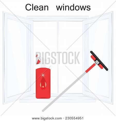 Set Of Open Window Transparent Glass Sprayer Wiper Isolated On White Background Art Creative Element