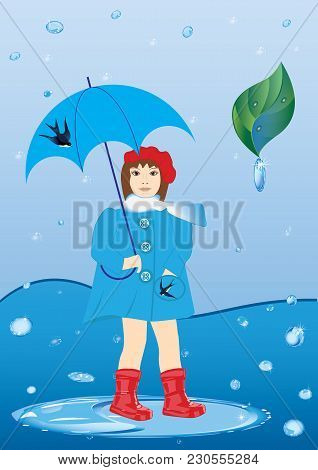 Girl With Umbrella In A Red Rubber Boots Standing In A Puddle In The Rain Green Leaf With Rain Drops
