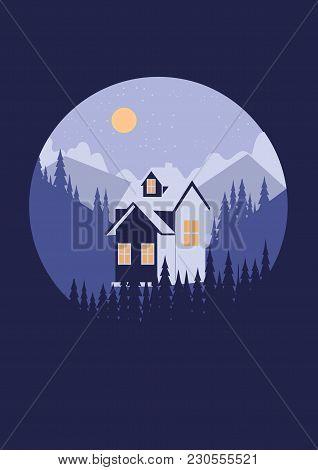 Tourism Logo House Camping Ottel Mountain Landscape Moon Night Art Creative Illustration Of Modern A