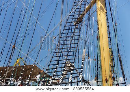 Kaliningrad, Russia - June 19, 2016: Steel Masts Of The Famous Barque Kruzenshtern (prior Padua) Moo
