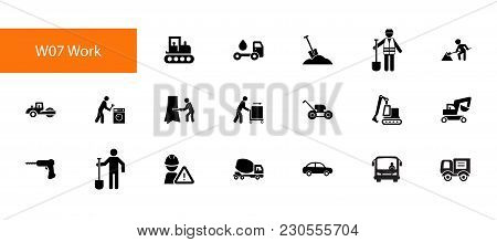 Nineteen Work Flat Vector Icons Collection On White Background. Can Be Used For Topics Like Occupati