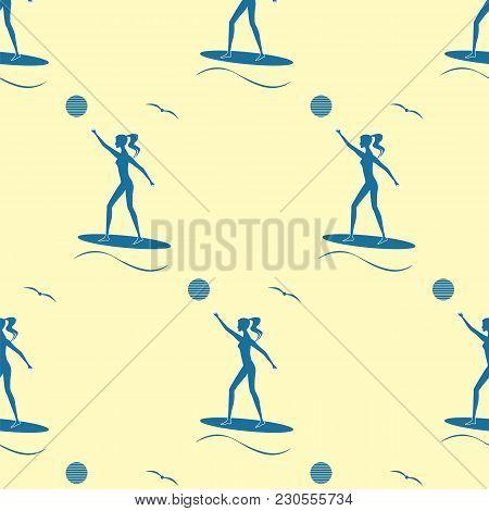 Pattern Surfer Girl Surfboard Sun Wave Seagull Flat Style Modern Art Creative Vector Blue On A Light