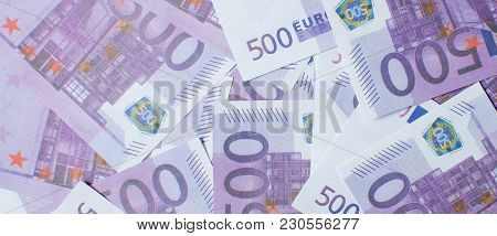 Currency Euro With A Par Value Of 500. The Concept Of Earnings. Exchange. Exchange Rates