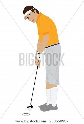 Man Playing Golf Isolated On White Background Art Creative Modern Vector Illustration Flat Style