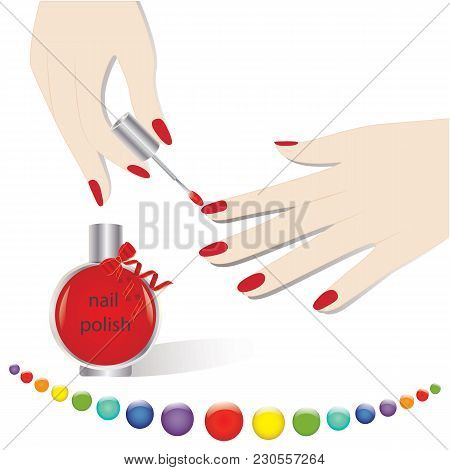 Set Of Feminine Hands Manicure Red Nail Polish In A Glass Bottle Decorated With Ribbon Palette Of Co