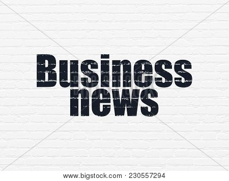 News Concept: Painted Black Text Business News On White Brick Wall Background