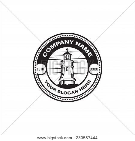 Vintage Nautical Labels With Light House, Sea Boat And Anchors. Old Navy Logos Set With Anchor And L