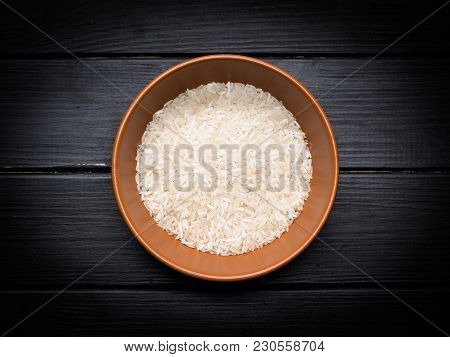 A Serving Of Rice On The Kitchen Table