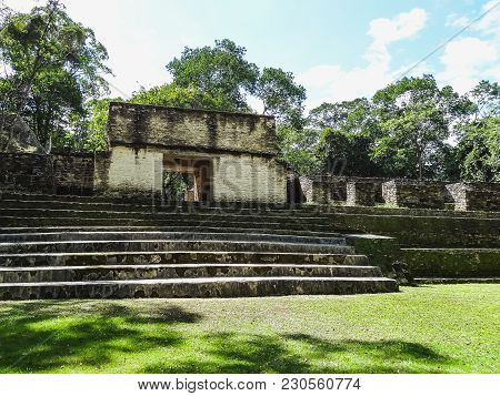 View To Xunantunich Archaeological Reserve Ruins In Belize America
