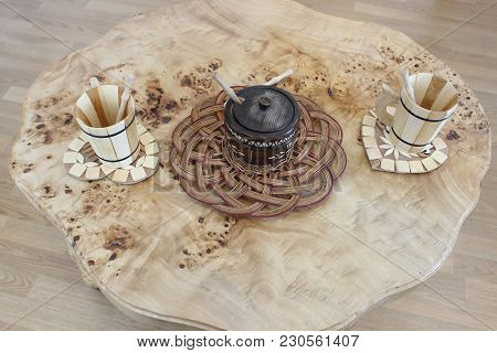 Wooden Table For Tea With Wooden Stands, Wooden Sugar Bowl And Wooden Cups. All Natural And Handmade