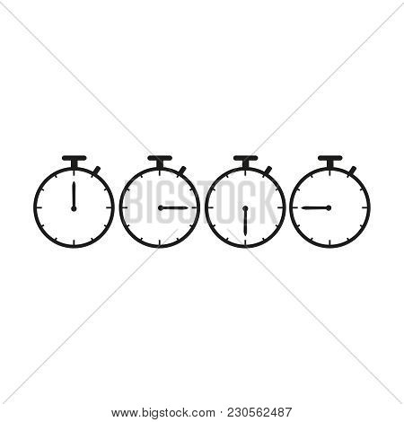 Set Of Stopwatches Time Icons On The White Background