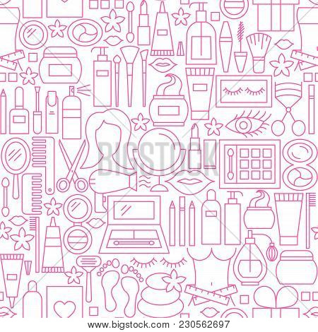 Cosmetics White Line Seamless Pattern. Vector Illustration Of Outline Tileable Background.