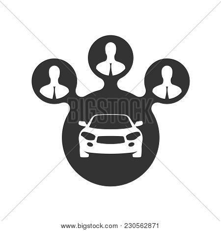 Car Sharing Icon. Car Share With Group Of People Black Symbol. Ride Share Sign. Carsharing Conceptua