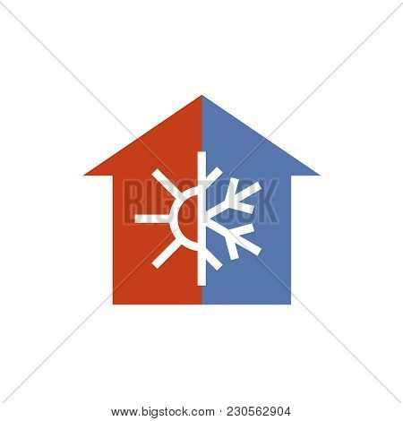 Hot And Cold House Silhouette Sign. Temperature Balance At Home Icon. Sun And Snowflake Line Style S