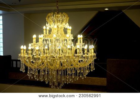 Beautiful Crystal Chandelier. Close Up On The Crystal