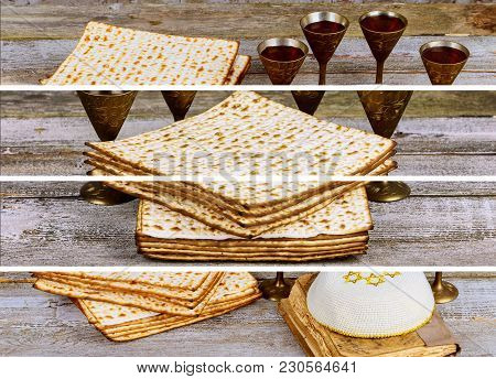 Passover Jewish Food Pesach Matzo And Matzoh Bread Passover, Jewish Photo Collage Different Picture