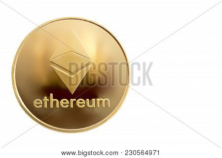 On A White Background With Free Space For Text Is Isolated Gold Coin Of A Digital Crypto  Currency -