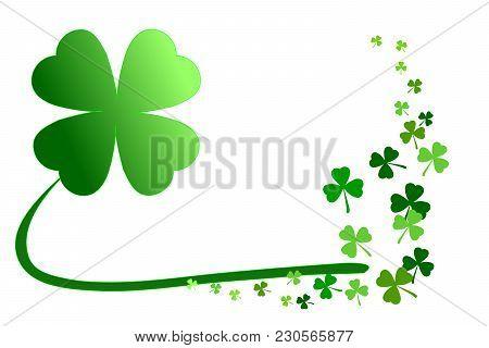 Pattern Of Green Shamrocks, 4-leaf Clover Among 3-leaf; Isolated On White Background. Vector Illustr