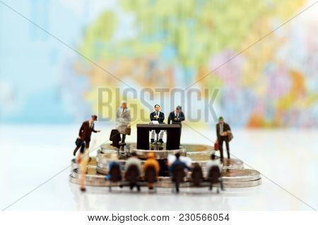 Miniature People: Business Person  Sitting And Waiting For Interview. Employer Of Choice, Candidate