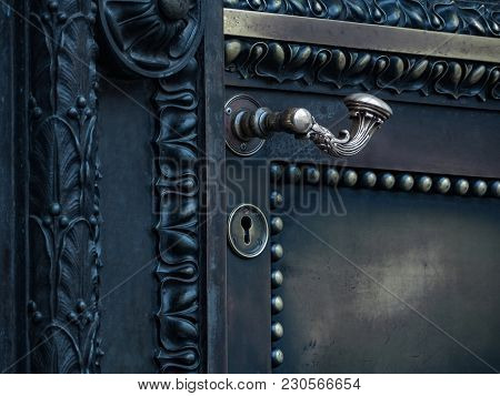 The Brass Antique Door With Ornaments Close