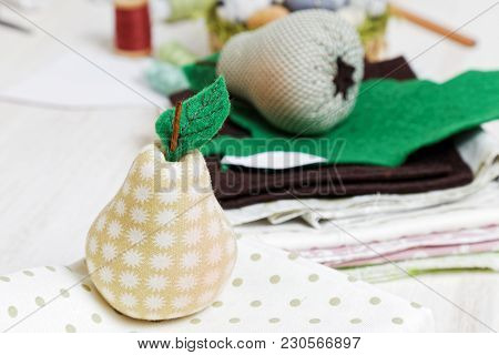 Homemade Soft Toy - Pear From Cloth.