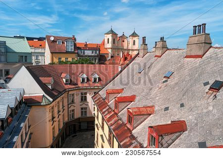 View On Old Town In Bratislava City, Slovakia, Europe. Historic Architecture. Cityscape And Skyline