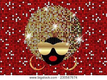 Portrait African Women , Dark Skin Female Face With Shiny Hair Afro And Gold Metal Sunglasses In Tra