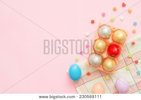 Flat Lay Top View Colorful Easter Egg Painted In Pastel Colors Composition On Pink Pastel Color Back