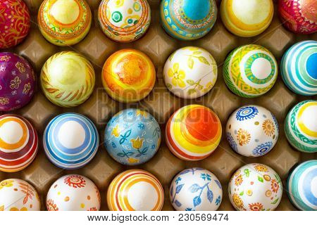 Beautiful background of Easter eggs hand painted
