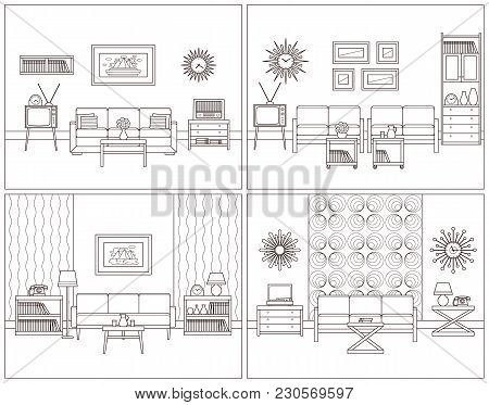 Room Retro Interior. Vector. Living Rooms In Line Art. Flat Design Furniture Sofa, Couch, Armchair,