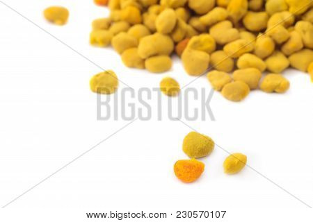Flower Bee Pollen Isolated On A White Background. Natural Remedy For Immunity Enhancement. Beekeepin