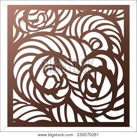 Laser Cutting Square Panel. Openwork Abstract Pattern. Perfect For Gift Box Silhouette Ornament, Wal