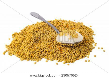 Flower Pollen With Honey Is Isolated On A White Background. Natural Remedy For Immunity Enhancement.
