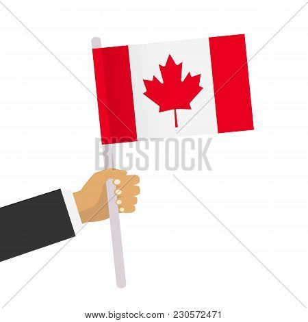 Man Holds Canadian Flag. Hand Holding Flag. Vector Stock.