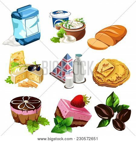 A Set Of Food Products Of Animal And Vegetable Origin. Vector Illustration.