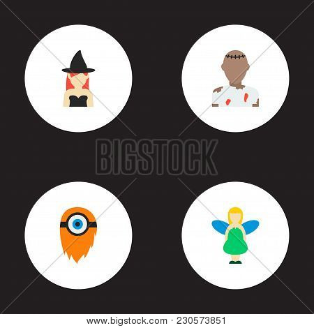 Set Of Fantasy Icons Flat Style Symbols With Witch, Cyclop, Zombie And Other Icons For Your Web Mobi